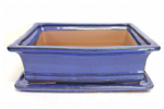 Bonsai Pot, Rectangle, 31cm, Blue, Glazed, Saucer